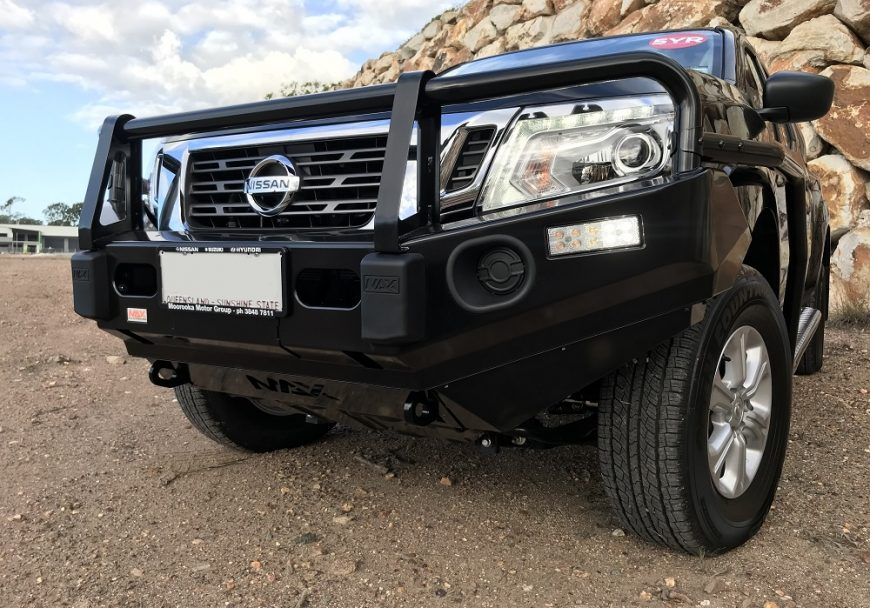 MAX 4x4 accessories Nissan NP300 quality steel bull bar. The best bar for your 4WD. With optional fog lights, embossed overriders, rated, LED indicator lights, rated tow/recovery points.